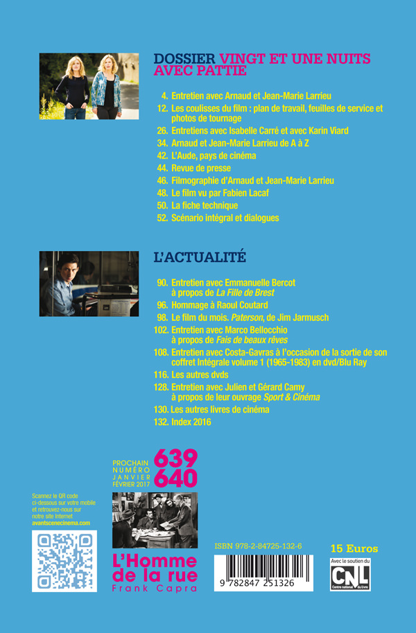 4ème de couverture de l'Avant-scène Cinéma 638, 21 nuits avec Pattie d'Arnaud et Jean-Marie Larrieu
