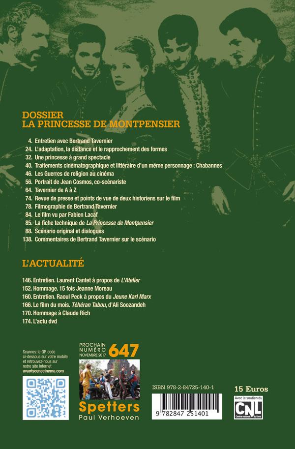 4ème de couverture du numéro 646 de l'Avant-Scène Cinéma sur la Princesse de Montpensier de Bertrand Tavernier