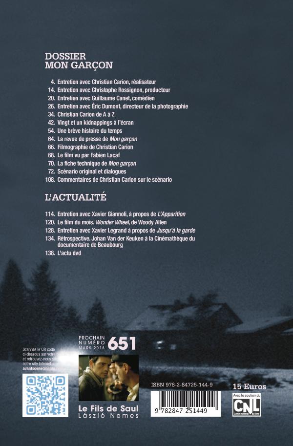4ème de couv Avant-Scène Cinéma 650 Mon garçon Christian Carion