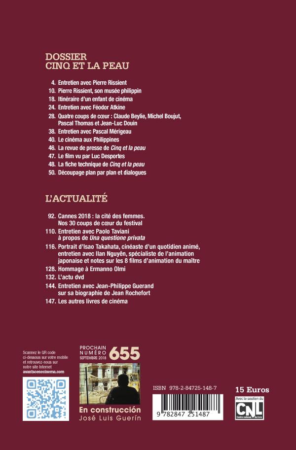 4ème de couverture du Numéro 654 de l'Avant-Scène Cinéma Cinq et la peau de Pierre Rissient
