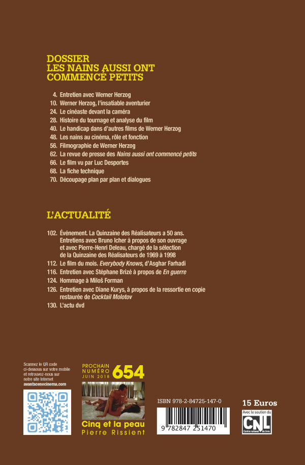 4ème Couverture Numéro 653 Avant-Scène Cinéma Les Nains aussi ont commencé petits de Werner Herzog