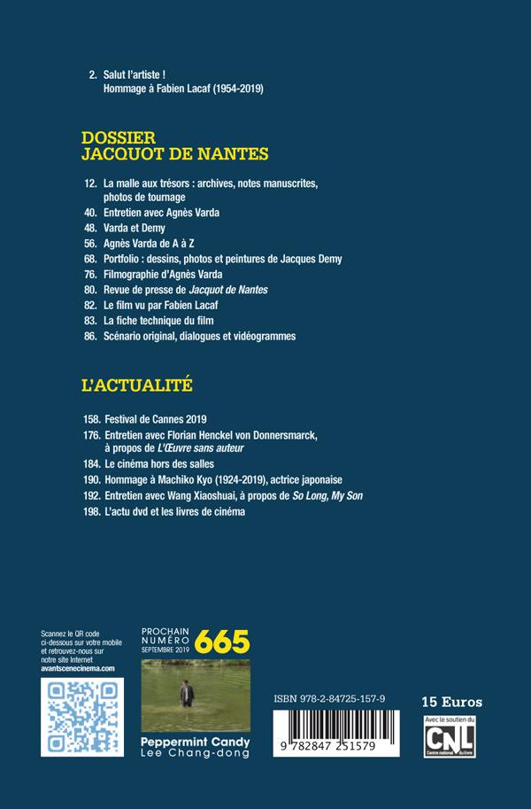 4ème de Couverture Numéro 664 Avant-Scène Cinéma - Dossier Jacquot de Nantes d'Agnès Varda