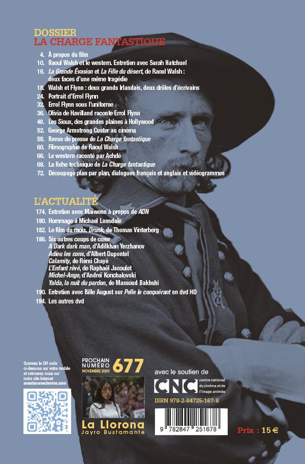 4ème de couverture du numéro 676 de l'Avant-Scène Cinéma à propos de La Charge fantastique de Raoul Walsh