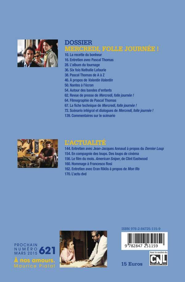 Avant-Scène Cinéma Numéro 620 - Mercredi Folle journée - 4ème de couverture