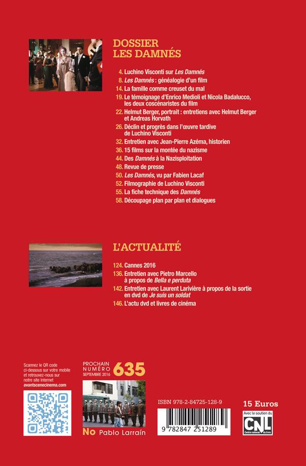 4ème de couverture Les damnés - Avant-Scène Cinéma 634