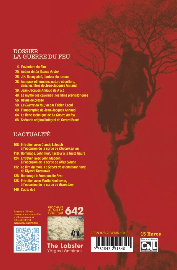 4ème Couverture du numéro 641 de l'Avant-Scène Cinéma, dossier La guerre dyu feu de Jean-Jacques Annaud