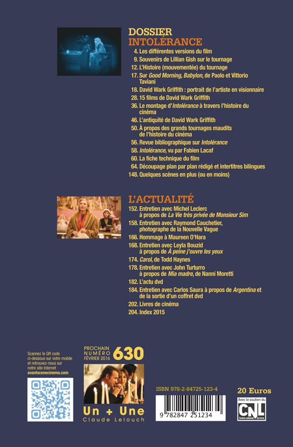 Sommaire Avant-Scène Cinéma 628-629 Intolérance de D.W. Griffith
