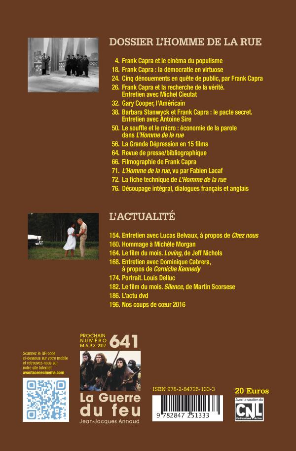 4ème de couverture Numéro 639-640 de l'Avant-Scène Cinéma L'homme de la rue de Frank Capra