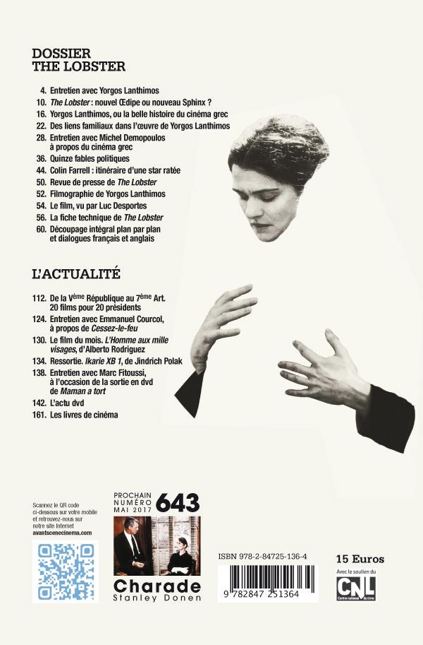 4ème de couverture du numéro 642 de l'Avant-Scène Cinéma sur The Lobster de Yorgos Lanthimos
