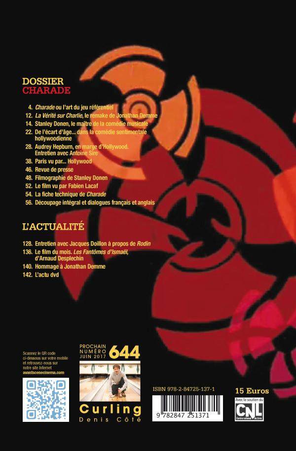 4ème de couverture du Numéro 643 de l'Avant-Scène Cinéma sur le film Charade de Stanley Donen