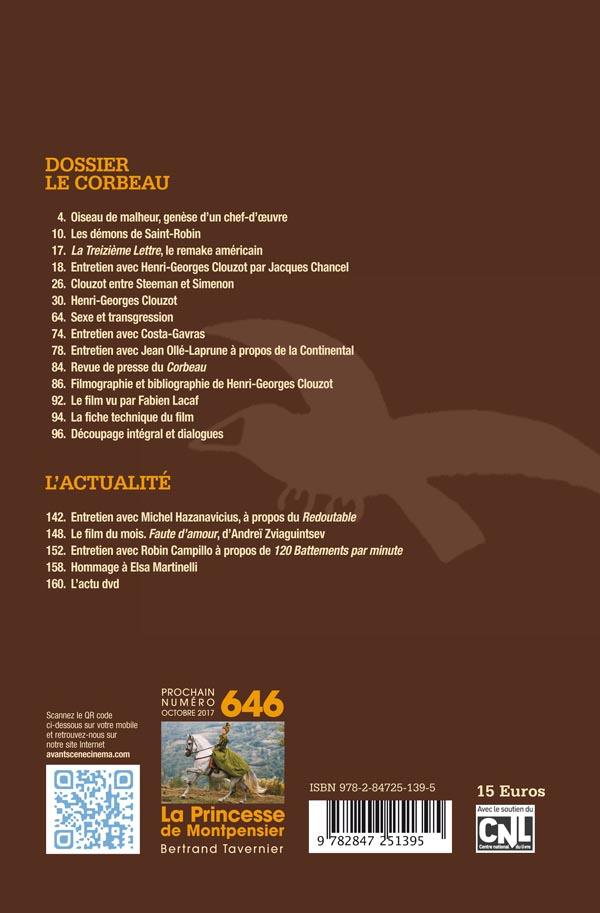 4ème de Couverture du numéro 645 de l'Avant-Scène Cinéma sur Le corbeau d'Henri-Georges Clouzot