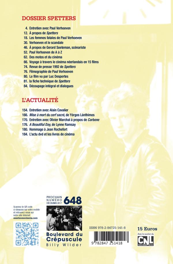 4ème de couverture du numéro 647 de l'Avant-Scène Cinéma sur Spetters de Paul Verhoeven