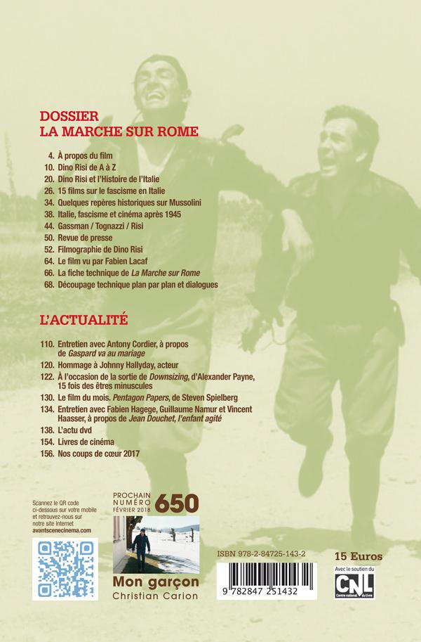 4ème de couverture du Numéro 649 de l'Avant-Scène Cinéma à propos de La Marche sur Rome de Dino Risi