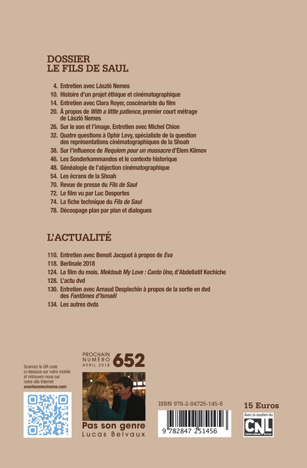 4ème de couverture de l'Avant-Scène Cinéma Numéro 651 sur Le Fils de Saul de László Nemes