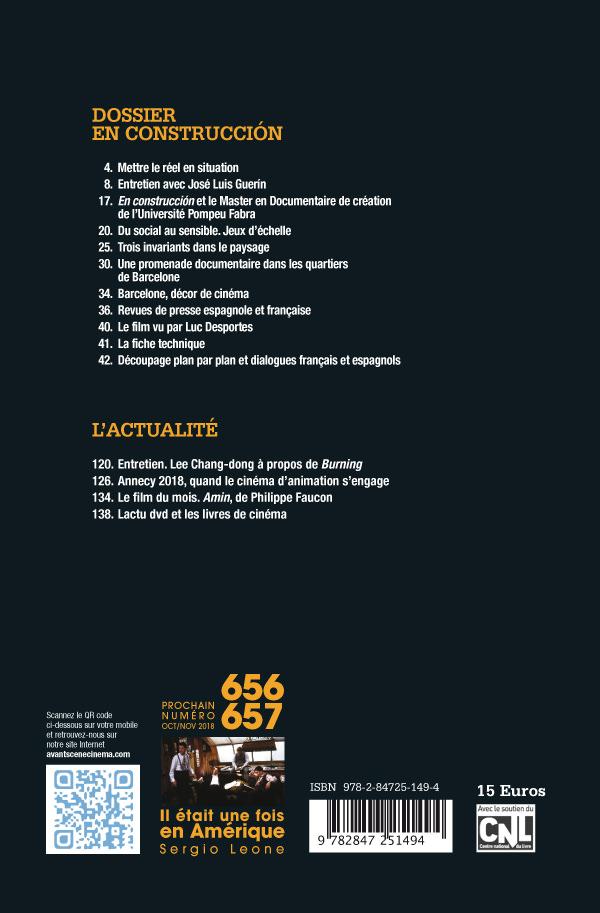 4ème Couverture Numéro 655 de l'Avant-Scène Cinéma sur Construccion de Jose Luis Guerin