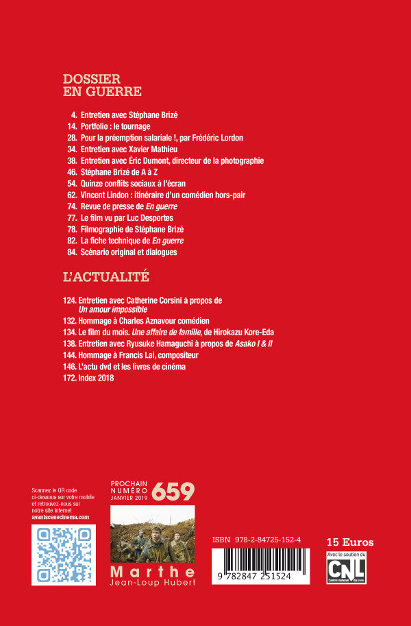 4ème de couverture du numéro 658 de l'Avant-Scène Cinéma sur En guerre de Stéphane Brizé