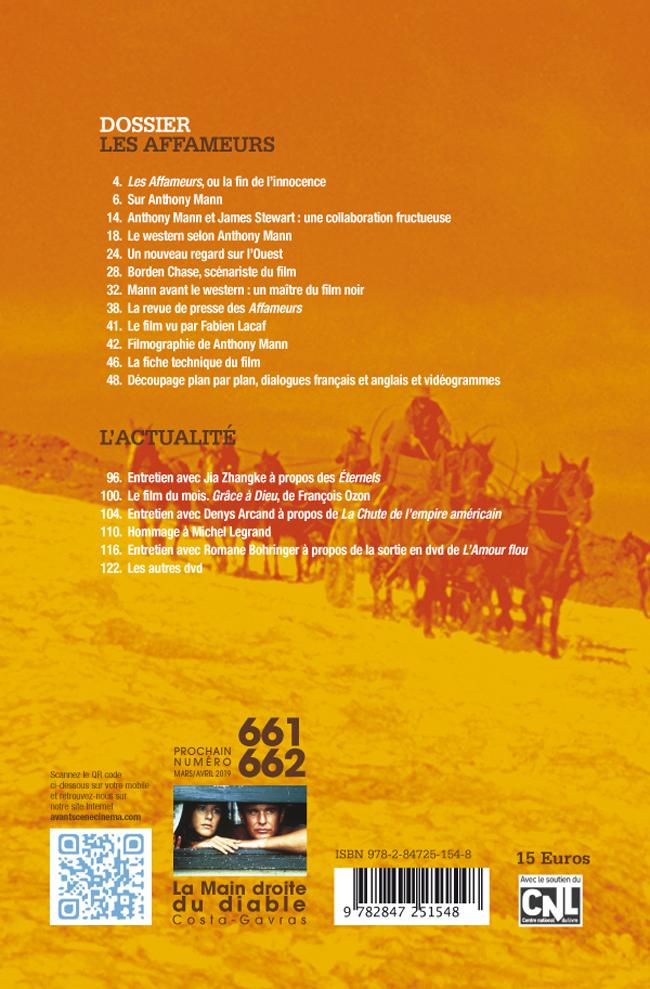 4ème de couverture Avant-Scène Cinéma numéro 660 à propos de Les Affameurs d'Anthony Mann