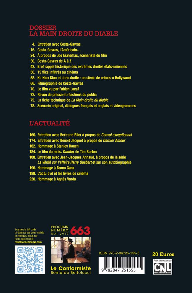 4ème de couverture du numéro 661-662 de l'Avant-Scène Cinéma - La main droite du diable de Costa Gavras