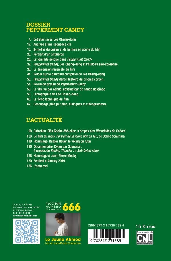 4ème couverture Avant-Scène Cinéma 665 à propos de Peppermint Candy de Lee Chang-Dong