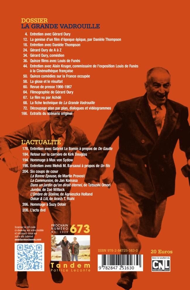 4ème de couverture numéro 671-672 de l'Avant-Scène Cinéma à propos de La grande vadrouille de Gérard Oury