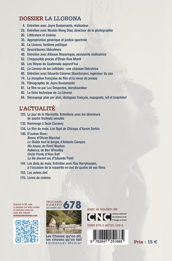4ème couverture numéro 677 de l'Avant-Scène Cinéma La Llorona de Jayro Bustamante
