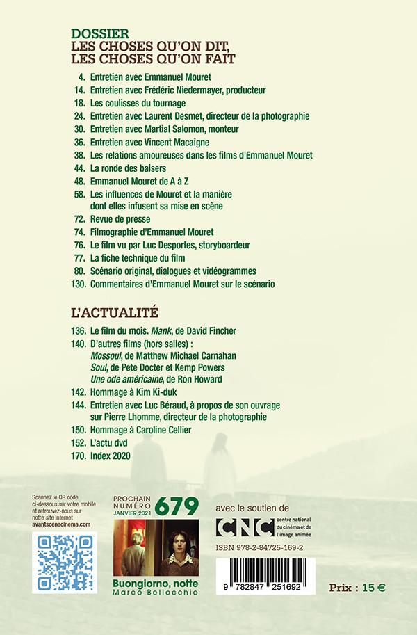 4ème de couverture du Numéro 678 de l'Avant-Scène Cinéma à propos de Les choses qu'on dit, les choses qu'on fait d'Emmanuel Mouret