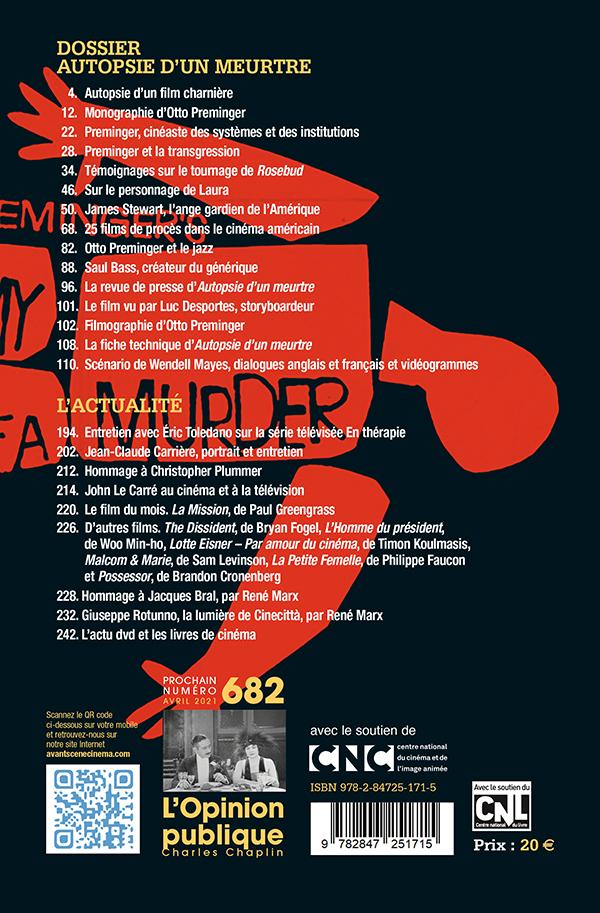 4ème couverture du numéro 680-681 de l'Avant-Scène Cinéma sur Autopsie d'un meurtre d'Otto Preminger