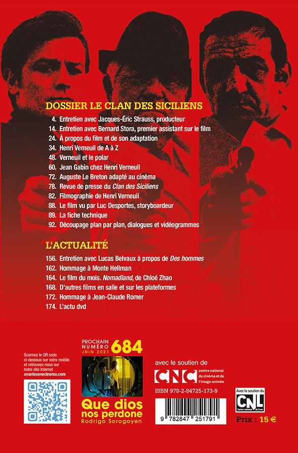 4ème de Couverture du numéro 683 de l'Avant-Scène Cinéma - Le Clan des Siciliens de Henri Verneuil