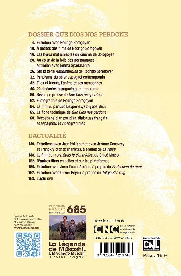 4ème de couverture du numéro 684 de l'Avant-Scène Cinéma à propos de Que Dios nos perdone de Rodrigo Soroyen