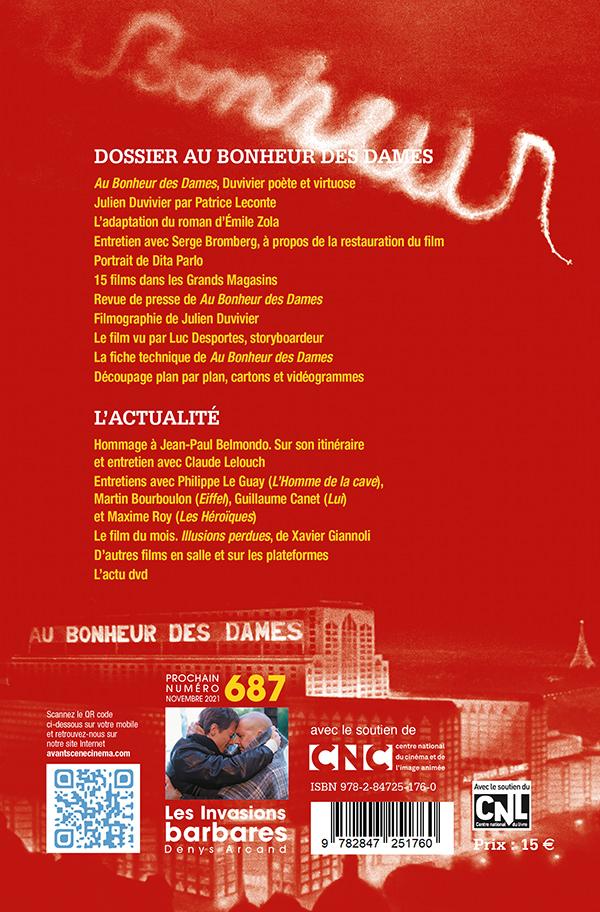 4ème Couverture du Numéro 686 de l'Avant-Scène Cinéma à propos du film Au bonheur des Dames de Julien Duvivier